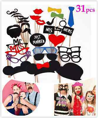 31pcs Wedding Photo Booth Props Moustache on A Stick Party Fun