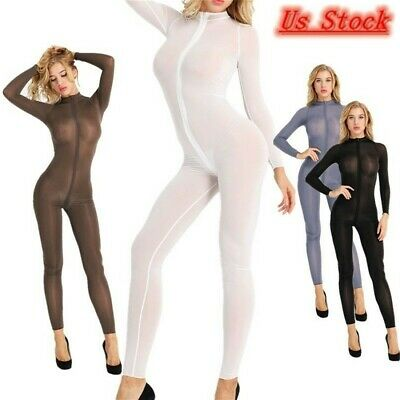 Womens See Through Jumpsuit Bodystocking Zipper Bodysuits Lingerie Teddy Catsuit