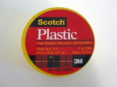 "3 ROLLS 3M SCOTCH Yellow Colored Plastic Tape Repair/ID 3/4 x 125"", 3.47 yds NEW"