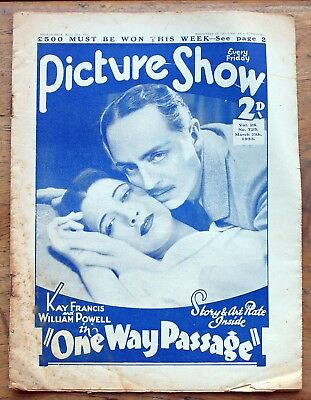 OLD FILM magazine - Picture Show for March-25th 1933 with tinted suppliment