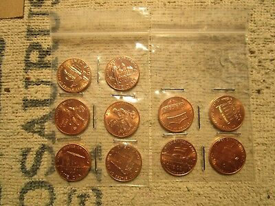 2009-10 P&D  Lincoln Bicentennial penny set of 10 coins From mint rolls Gem/Bu