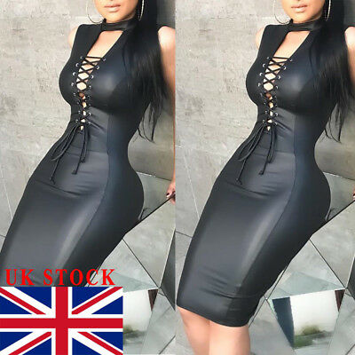 UK Womens Bodycon Bandage Evening Party Dress Ladies PU Leather Clubwear Dress
