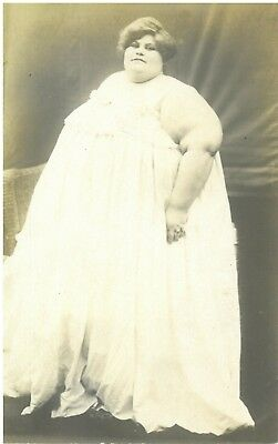 Vintage Rppc Circus Fat Lady Sideshow Act