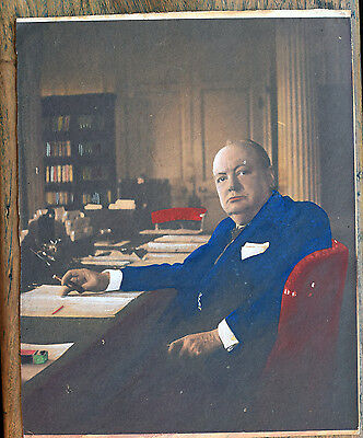 OLD  Wartime Print of   Winston Churchill nd.c.1940's