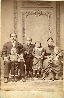 Cabinet Photo Of Family By Kellmer's Photograph Parlors Hazleton Pa 4 Children