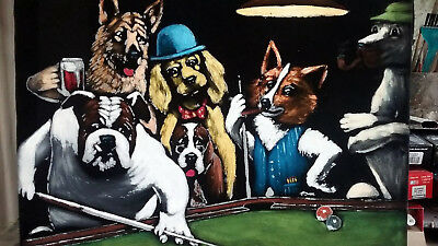 Dogs Playing Pool Billiards & Cards Black Velvet Painting 16x20