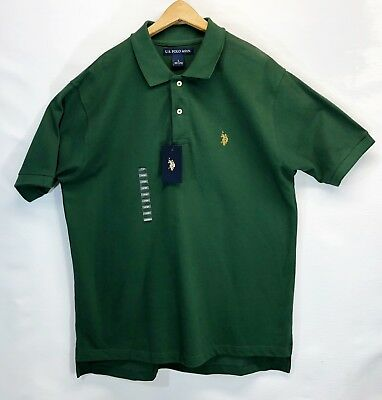 US Polo Assn Men's Solid Green ~Yellow Logo Cotton Golf Polo Shirt Sz Lg ~NWT~