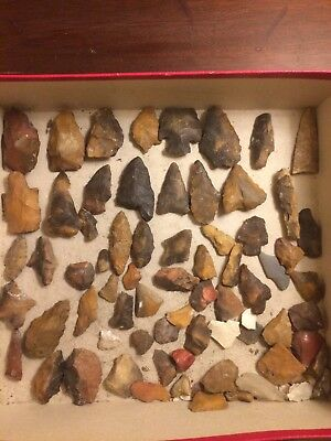 Lot of 30+ Genuine Tennnessee Arrowheads and Flint Pieces