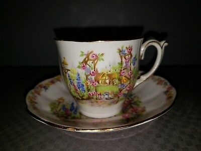 Vintage Bell Fine Bone China England Rose CottageTea Cup and Saucer Set