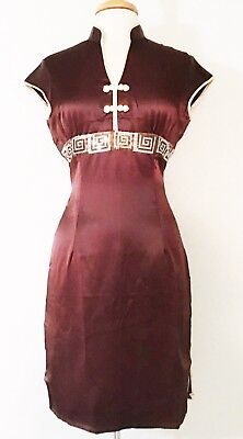 Short Sleeve Modern Chinese Cheongsam Qipao Summer Fashion Dress  Brown Color