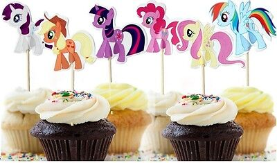 24 x My Little Pony Cake Picks / Flags Party Cupcake Decorations Topper Free P&P