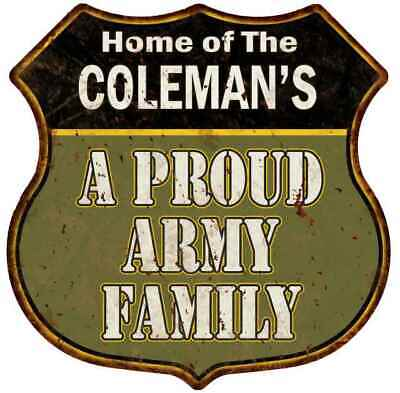 COLEMAN'S Proud Army Family Personalized Shield Metal 12x12 Gift 211110015102