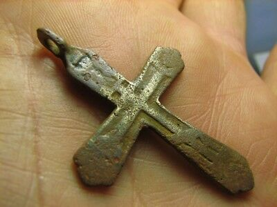 Rare ! Big ! Relief! Nice Late Medieval  Bronze Cross Pendant #646