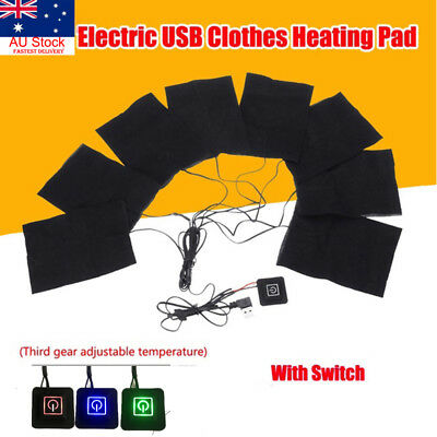 AU 5V USB Electric Cloth Heater Pads Heating Element Warmer Vest Jacket Warming