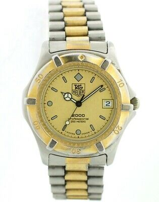 Vintage Tag Heuer 2000 964.006 Two Tone Champagne Dial 37mm Wrist Watch