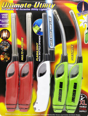 Elite Fireplace Long Utility Fire Lighters 5 Pack BBQ Candle Grill Butane Stove