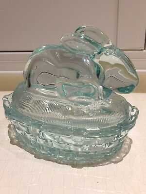 Easter Bunny Rabbit Glass Covered Dish Pink or Blue for Candy or Jewelry U PICK