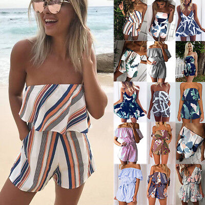 New Womens Holiday Mini Playsuit Ladies Jumpsuit Summer Beach Dress Size 6 - 20