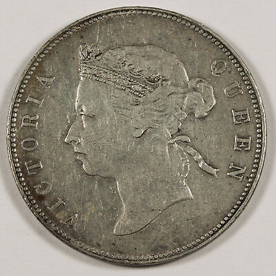 HONG KONG 1894 50 Cent Half Dollar VF KM# 9.1 Queen Victoria Scarce