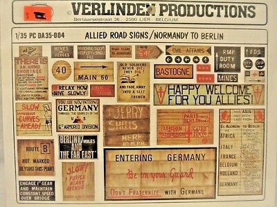 1/35 scale verlinden productions ALLIED ROAD SIGNS / NORMANDY TO BERLIN