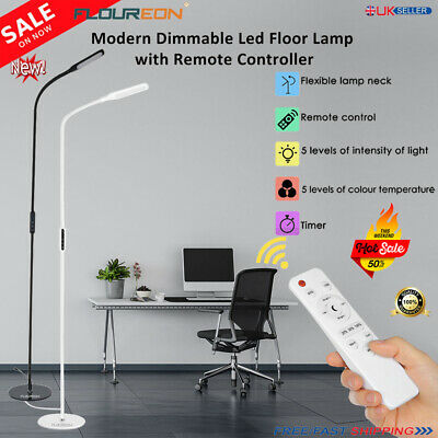 Modern Dimmable LED Floor Lamp Light Standing Craft Reading Lamps Adjustable B/W