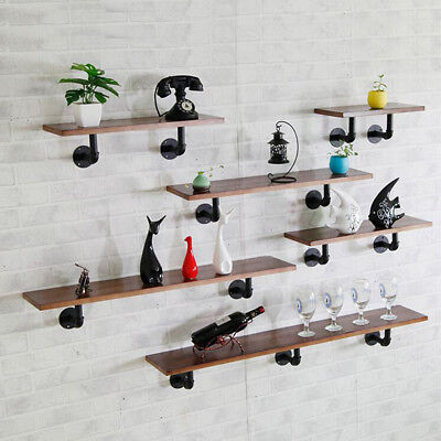 Wooden Floating Shelf Industrial Wall Mounted Shelf with Iron Pipe Brackets