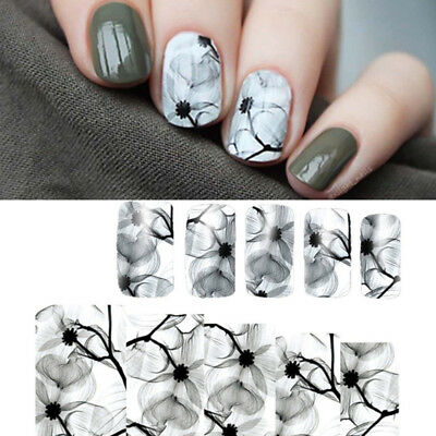 4 Sheets Nail Art Water Transfer Decal  Sticker Ink Flowers Pattern Tips