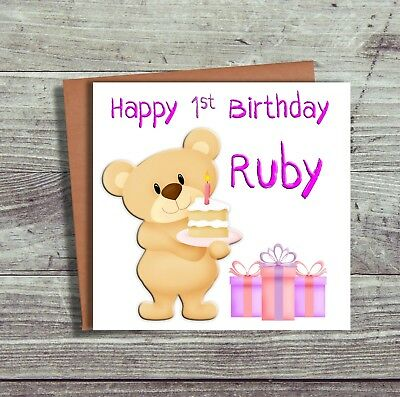 Personalised First 1st Birthday Card For Daughter Granddaughter Niece Teddy Bear