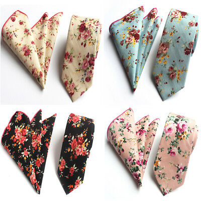 Men's Business Floral Necktie Pocket Square Wedding Party Tie Handkerchief Set