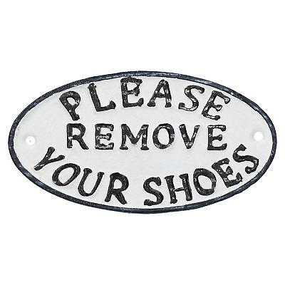 Please Remove Your Shoes Cast Iron Sign Plaque Door Wall House Fence Gate