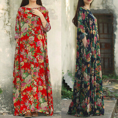 UK  Women Floral Vintage Dresse Ladies Casual Loose Party Long Maxi Dress Kaftan