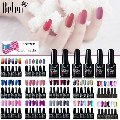 Ukiyo/ Belen 6PCS Colors Set  Gel Nail Polish UV LED Need Top Base Coat US STOCK