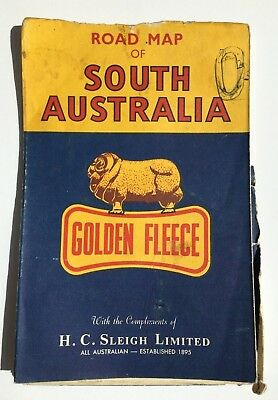 Golden Fleece Road Map of South Australia SA Collectable Vintage H.C SLEIGH