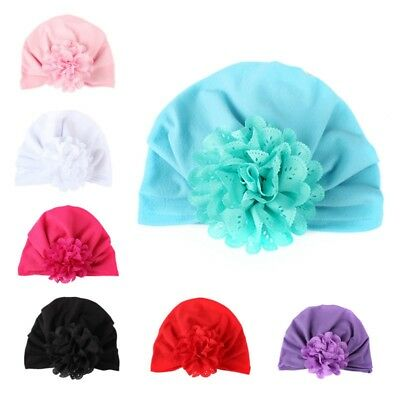 Cute Newborn Toddler Baby Hat Indian Turban Flower Decor Hospital Beanie Cap 1PC