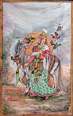Persian Lady With Horse and Birds very Fine Miniature Art work Persian Painting