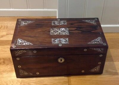 Antique/vintage Rosewood Tea Caddy, Mother Of Pearl Detail, Includes Mixing Bowl