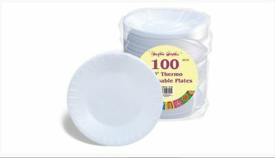 10 Inch White Round Disposable Paper Party Plates  Food Wedding New 100 Pieces