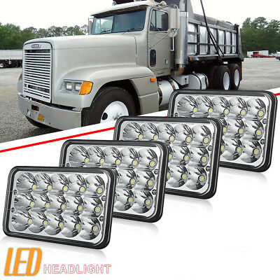 "4 pcs 4X6"" LED Headlights Hi/Lo Light Bulbs Crystal Chrome Sealed Beam Headlamp"