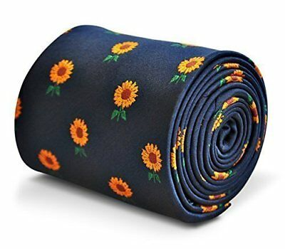 Frederick Thomas Navy Blue Mens Tie with Sunflower pattern