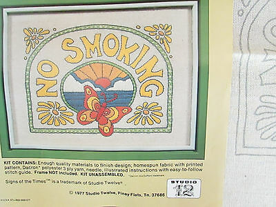 1970's Vintage Needlepoint Butterfly No Smoking Embroidered Hippie boho craft