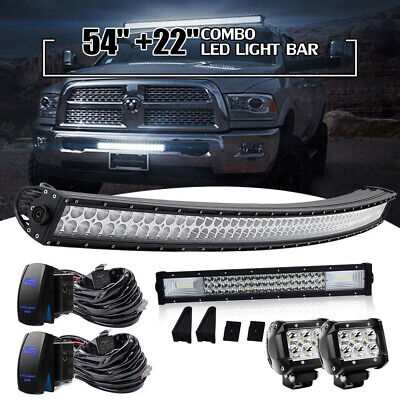 54INCH CURVED LED Light Bar for Ford F150 Dodge Ram GMC Sierra Canyon Chevrolet