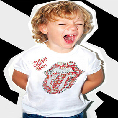 Amplified Kids Rolling Stones White Diamante Baby T Shirt