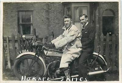Men on old motorcycle 6x8cm snapshot photo note Horace James