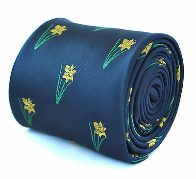 Navy Mens Tie with embroidered Daffodils Print by Frederick Thomas FT1930