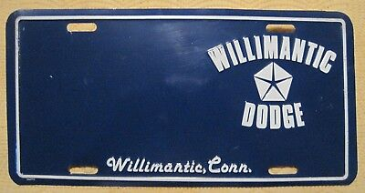 WILLIMANTIC CONN Dealer Plate Advertising WILLIMANTIC DODGE