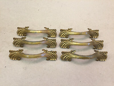 6 Vintage Metal Drawer Pulls Decorative Ornate Design Brass Tone