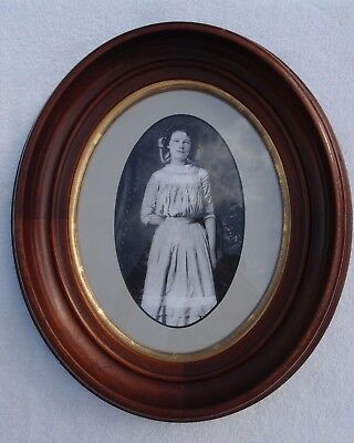 Antique Oval Cherry Wood Frame with Antique Photograph