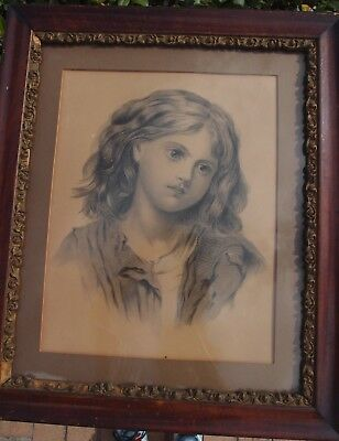 Antique Oak Wood Frame with Antique Charcoal Drawing