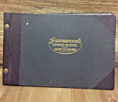 Antique Business Tax Ledger Book 1923 Greenwood's Vintage Taxes Bookkeeping