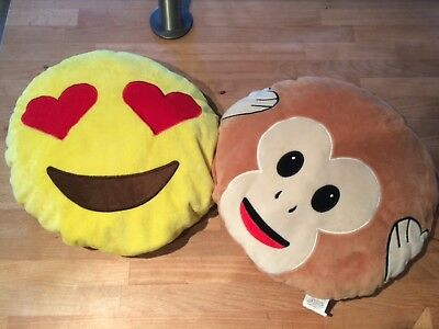 2 EMOJI CUSHIONS/PILLOW - love heart eyes S miley face and monkey face